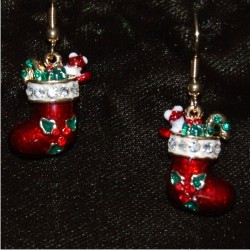 Christmas Earrings - Stocking with Holly