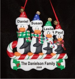 Sledding Penguins Family of 4