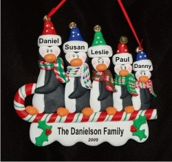 Sledding Penguins Family of 5