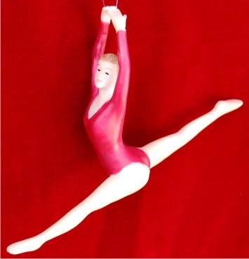 Female Gymnast Red Leotard