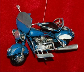 3D Blue Vintage Motorcycle with Windscreen