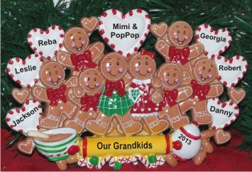One or Both Grandparents with Their 8 Grandkids Tabletop Christmas Decoration