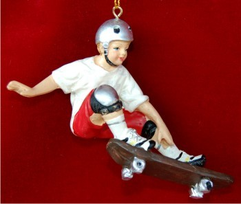 Young Boy Skateboarding with Silver Helmet