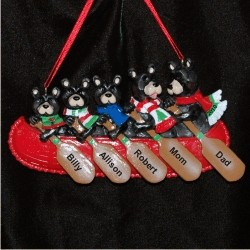 Black Bear Family of 5 Personalized Christmas Ornament