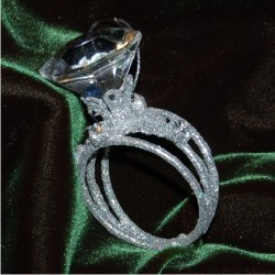 Encrusted band with solitaire diamond ring
