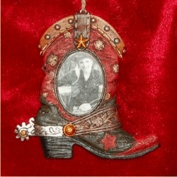 Red Boot Western Ornament Frame