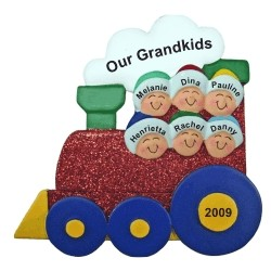 6 Grandkids Christmas Train