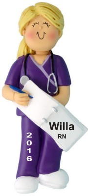 Nurse Graduate in Scrubs Female Blond