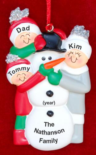 Single Dad Christmas Ornament Christmas Ornament Making Snowman 2 Kids by Russell Rhodes