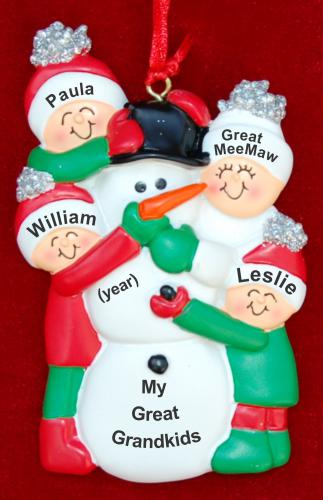 My 3 Great Grandkids with Great Grandmother Christmas Ornament Making Snowman by Russell Rhodes