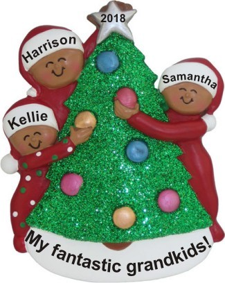 My Fantastic 3 Grandkids African American Decorating Tree