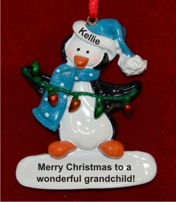 Christmas Penguin with Lights for Grandchild