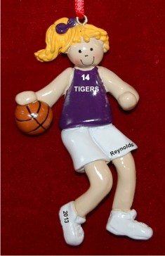 Basketball Female Blond Purple Uniform