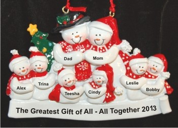 Snuggling Together Snowman Family of 8