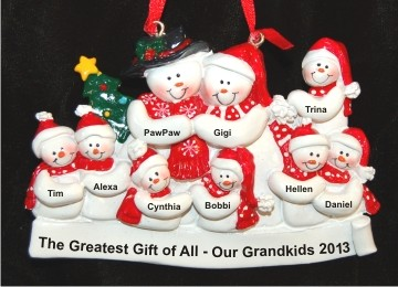 Grandparents with 7 Grandkids & Christmas Tree