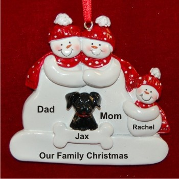Snow Family of 3 with Black Dog