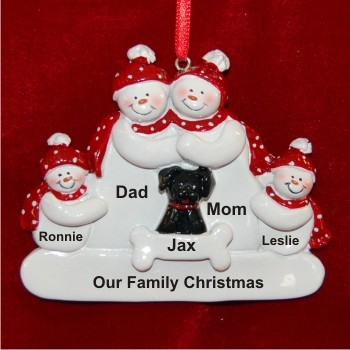 Snow Family of 4 with Black Dog