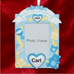 Baby's 1st Christmas Loving Hearts Photo Frame, Blue