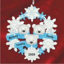 Polar Bear Snowflake, Family of 3