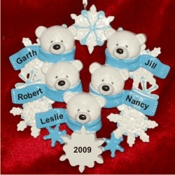 Polar Bear Snowflake, Family of 5