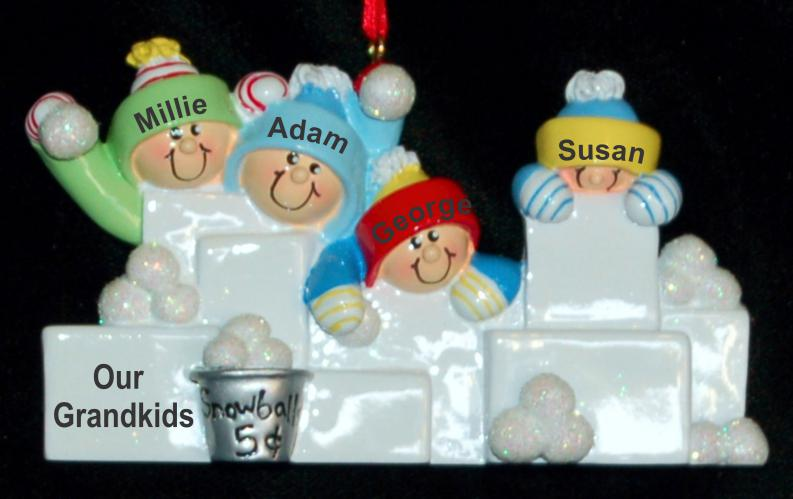 Personalized Grandparents Christmas Ornament Snowball Fun Grandkids 4 Personalized by Russell Rhodes