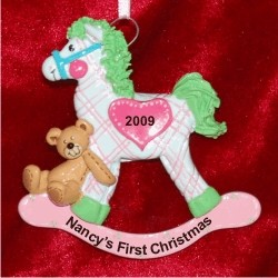 Rocking Horse with Hand-Stitched Heart, Pink