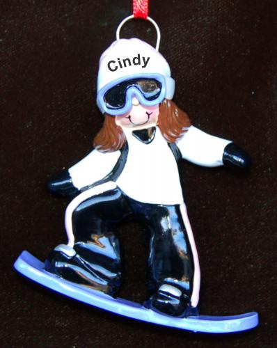 Personalized Snowboard Christmas Ornament Female Brunette by Russell Rhodes