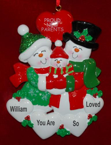 Personalized New Parents Christmas Ornament Our Family Grows by Russell Rhodes