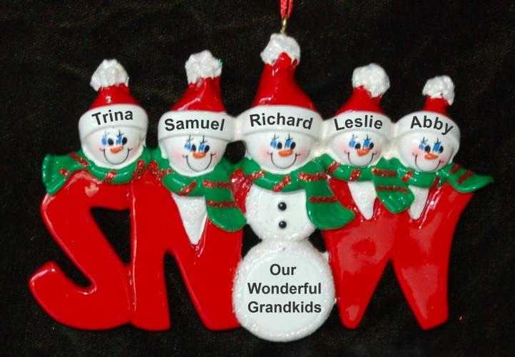 Personalized Grandparents Christmas Ornament Snow Much Fun 5 Grandkids by Russell Rhodes