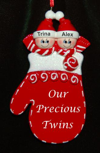 Personalized Twins Christmas Ornament Holiday Mitten by Russell Rhodes