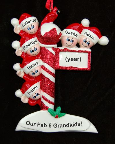 Personalized Grandparents Christmas Ornament North Pole 6 Grandkids by Russell Rhodes