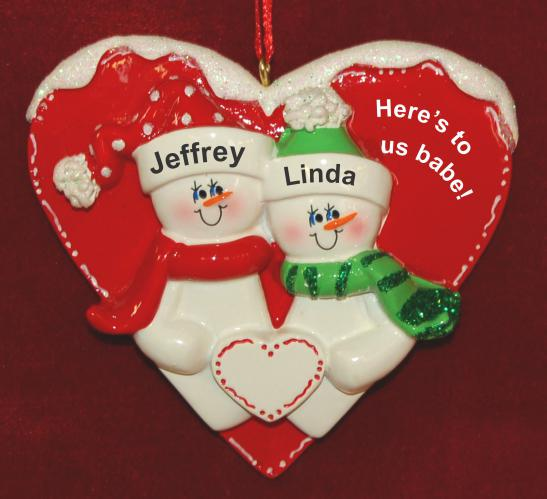 Personalized Couple Christmas Ornament Loving Heart by Russell Rhodes