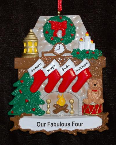 Personalized Fanily Christmas Ornament Stone Fireplace 4 Kids by Russell Rhodes