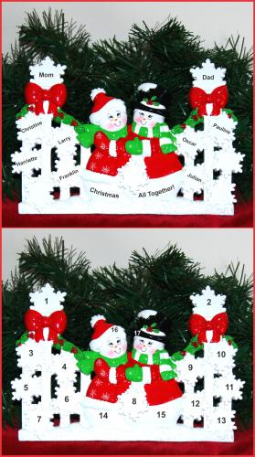 Personalized Family Tabletop Christmas Decoration Snowflakes Family of 9 by Russell Rhodes