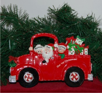 Santa's Fire Engine Tabletop: Our 1st Xmas Family of 3