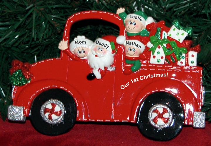 Personalized Our 1st Xmas as Family Tabletop Christmas Decoration Fire Engine 1st Xmas as Family of 4 Personalized by Russell Rhodes