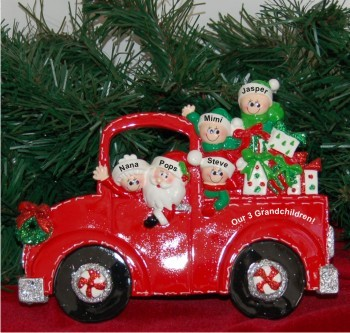 Santa's Fire Engine Tabletop: Our 3 Grandkids with 2 Grandparents