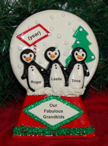 Personalized Grandparents Tabletop Christmas Decoration Penguins Grankids 3 Personalized by Russell Rhodes