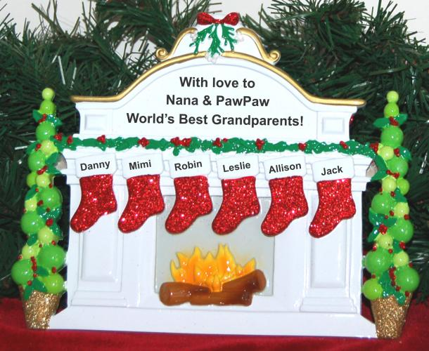 Personalized Grandparents Tabletop Christmas Decoration 6 Grandkids by Russell Rhodes