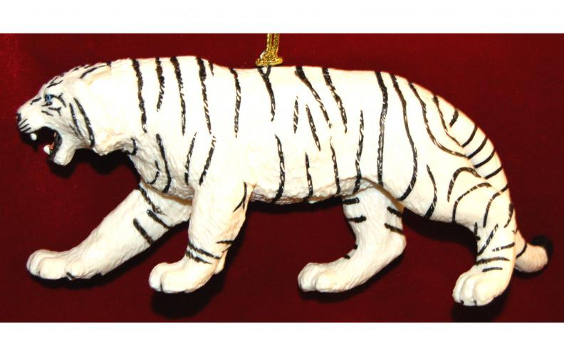 White Bengal Tiger Christmas Ornament by Russell Rhodes