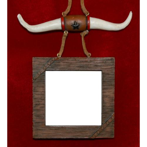 Personalized Western Frame Christmas Ornament with Longhorns by Russell Rhodes
